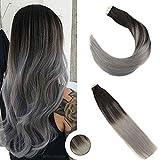 Ugeat 20 Pouces Tape Extensions en Cheveux Naturels 50cm Ombre Hair Extensions Skin Weft Extension Bande Adhesive (Noir #1B avec Gris, 20pcs 50g)