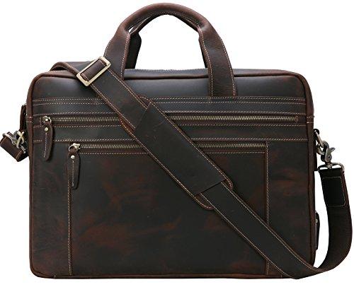 iswee echtes Leder Laptop Messenger-Tasche Business Aktentasche TRAVEL Duffel Gepäck Tasche -