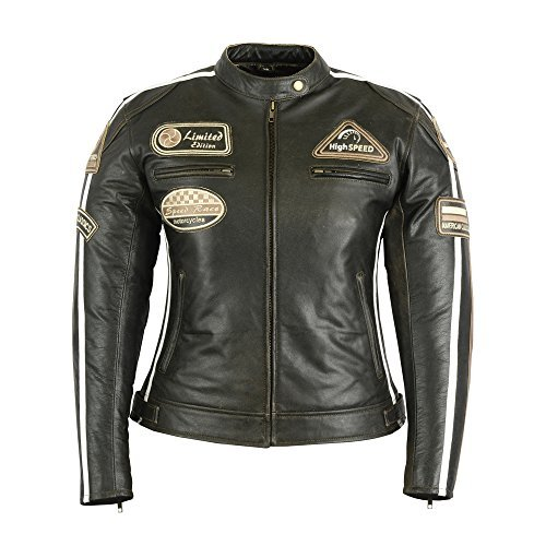 *Damen Lederjacke Motorradjacke Braun (38)*