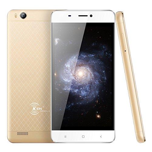 Smartphone Pas Cher,Ken V6 Telephone Portable Debloqué 3G ultra-mince Android 6.0 4.5 Pouces-1700mah Capacité- Quad Core 1 Go 8 Go Rom Double SIM WiFi GPS Bluetooth -(le blond)