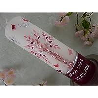 Taufkerze Lebensbaum silber rosa pink Taufkerzen Junge Mädchen 250/70 mm inkl. Beschriftung