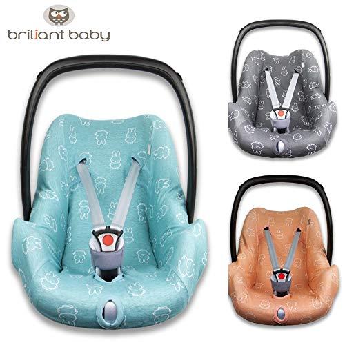 BriljantBaby BabyFit NIJNTJE/MIFFY ** Universal Schonbezug 100% Baumwolle Interlock-Jersey ** Für Babyschale, Autositz, z.B. Maxi Cosi CabrioFix, Citi, Pebble u.a. (Light Ocean)