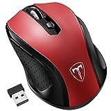 VicTsing 2.4G Souris sans fil avec Récepteur Nano 6 Boutons 2400 DPI (5 Niveaux Réglables) -- Rouge