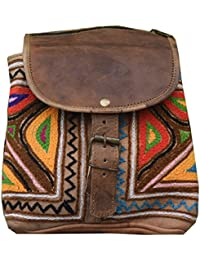 286f7decf496 E-Tailor Leather Embroidery Beautiful Small Tiffin Lunch Box Multicolour  Backpack for Men and