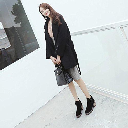 Fufu Boots Women Bootie Otoño Invierno Pu Suede Casual Dress Hebilla Cremallera Heel Black Beige Black2in-2 3 / 4in (color: Negro, Tamaño: Eu39 / Uk6 / Cn39) Negro