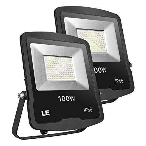 LE LED Strahler, 100W 8000lm superhell Flutlicht, IP65 wasserdicht LED Fluter, 5000K Kaltweiß Außenstrahler, geeignet für Garten, Garage, Hotel, Hof usw, 2er Pack