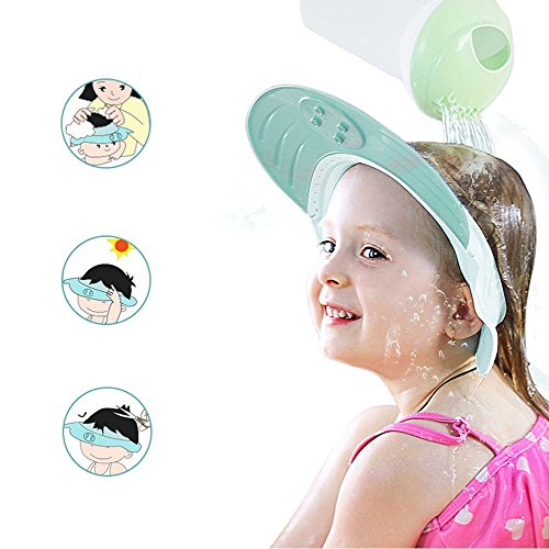 ONEDONE Adjustable Shower Cap Shampoo Protect Hats Funny Soft Silicone Shade Cap Suitable for Adults or Kids (Blue)