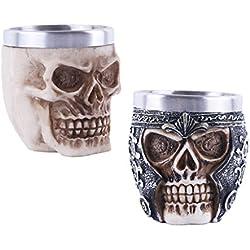 Baoblaze 2 Piezas Taza de Cerveza Gótica de Vino de Cráneo Skull Taza de Agua Vikinga Llamativa de Tankard