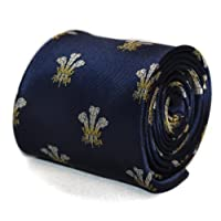 Frederick Thomas navy tie with prince of wales feathers badge with signature floral design to rear