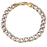 Glory Jewels Stainless Steel Two Tone 3d Curb 18kt Gold Plated Men's Bracelet