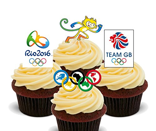 Summer Olympics 2016 - Edible Cupcake Toppers - Stand-up Wafer Cake Decorations by (Billig Mascot)