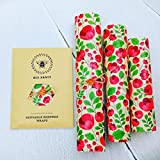 Set of 3 100% Natural Beeswax Food Wraps, Zero Waste