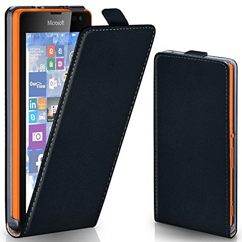 moex Microsoft Lumia 435 | Hülle Schwarz 360° Klapp-Hülle Etui Thin Handytasche Dünn Handyhülle für Nokia Lumia 435 Case Flip Cover Schutzhülle Kunst-Leder Tasche