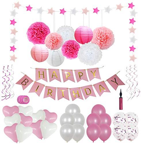 Happy Moment decoration Geburtstagsdeko Mädchen, Geburtstag Party Dekorationen Set für Mädche /Frauen, Happy Birthday Girlande,Rosa Ballons,Geburtstag Dekoration Rosa Weiß