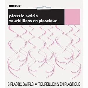 Unique Party Paquete de 8 Decoraciones Colgantes en Espiral de plástico, Color Rosa Claro, 66 cm (63270)