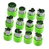 joyoldelf 12 Stück Gemüse Ausstechformen, Edelstahl Frucht Ausstecher Mini Blume Stern Tiere Fruchtform mit Antirutsch Schutz Griff