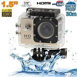 Caméra sport étanche 30m caméra action Full HD 1080p 12MP Or
