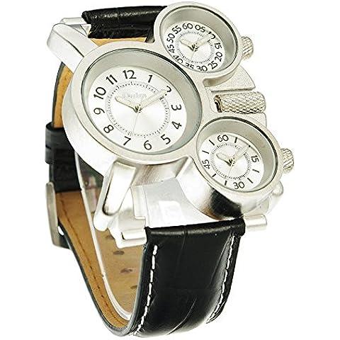 GL Militare al quarzo da polso orologio acciaio cinturino in metallo durevole Sub maschile quadranti Multi Time Zone Oversize, Bianco