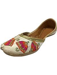 Paso n soporte de zapatos de estilo indio étnico Mojari plana sandalias Ballet Khussa novia jooti, color Azul, talla 36