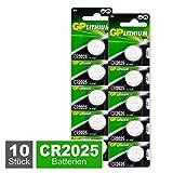 GP CR2025 Lithium Knopfzellen 3V, 10 Stück Knopfbatterien CR 2025 Spannung 3 Volt für verschiedenste Geräte- und Verbraucheranwendungen, (10-er Pack, Batterien einzeln entnehmbar)