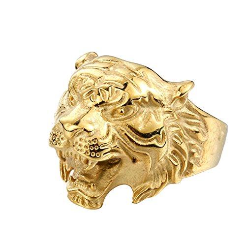 PAMTIER Hombres Acero Inoxidable Vendimia Gótico Biker Tigre Cabeza Ring Band Animal Diseño Oro Tamaño 19