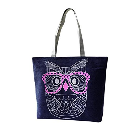 Longra Donne La borsa di tela modello gufo Blu