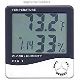 Digital Hygrometer Thermometer Humidity Meter with clock Big LCD Display HTC-1 by Supreme Traders Supertronics1989