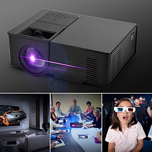 Zerone Mini Home 1080P HDMI Projector Protable LED Projector Multifunctional Video Projector Support Wifi Bluetooth Android Black-White