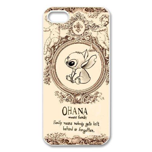 Axs2phone-Cover per iPhone 5S, motivo: Lilo & Stitch - Ohana, custodia per Apple iPhone 5 e 5S, protezione posteriore in Silicone gel TPU ad alta densità, trasparente, per Apple iPhone 5/5S