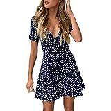 Vintage RéTro 1950'S Audrey Hepburn Robe Womens Summer Mini Dress Dames Manches Courtes Bodycon Beach Party Dot Robe D'éTé Col V Slit Slim avec Boutons DaySing...