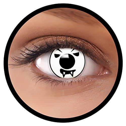 FXEYEZ® Farbige Kontaktlinsen weiß Angry Moon + Linsenbehälter, weich, ohne Stärke als 2er Pack - angenehm zu tragen und perfekt zu Halloween, Karneval, Fasching oder ()