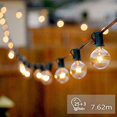 Lichterkette Außen Strombetrieben Glühbirnen G40 7.62m 25er Birnen Warmweiß Outdoor Wasserdichte Lichterketten für Innen Draussen, Party, Festival