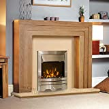 Electric Oak Wood Surround Hearth & Back Panel Modern Silver LED Flame Fire Wall Fireplace Suite 48""