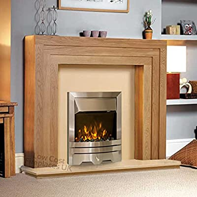 """Electric Oak Wood Surround Hearth & Back Panel Modern Silver LED Flame Fire Wall Fireplace Suite 48"""""""