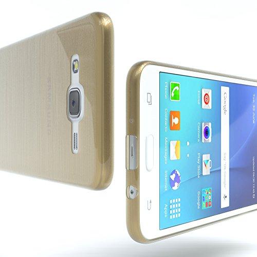 Samsung Galaxy J5 (altes Modell) Hülle - EAZY CASE Ultra Slim Cover Handyhülle - dünne Schutzhülle aus Silikon in Transparent Brushed Gold