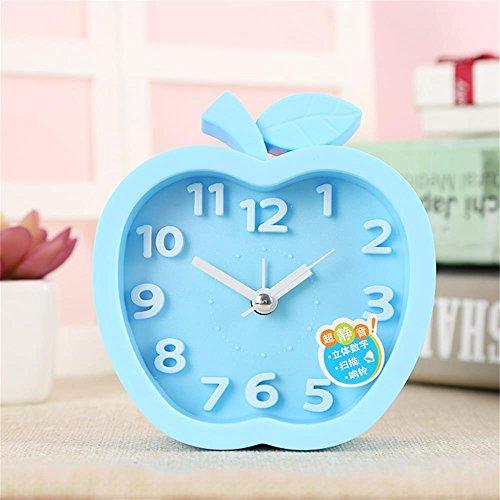 FHK Wecker Kreative Pers5onlichkeit-Kursteilnehmer-Nachttisch-Bell-Wecker-Kinder faule leise Warnungs-Uhr-netter Karikatur-einfacher Wecker Tischuhr ( Farbe : Blau )