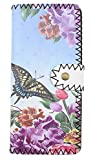 LaFiore24 hochwertige Fashion Geldbörse Portemonnaie Damen Geldbeutel Blumen Vintage Lang Gross Blau-Lila Schmetterling