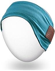 Rotibox banda Bluetooth al aire libre con auriculares inalámbricos auriculares auriculares estéreo altavoces micrófono manos libres para gimnasio Fitness Sports, compatible con teléfonos celulares Android Android - Azul