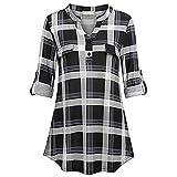 VEMOW Heißer Frauen Damen Sommer Chiffon Kurzarm Freizeithemd Tops Bluse Perfect Tee T-Shirt(Y5Schwarz, EU-40/CN-S)