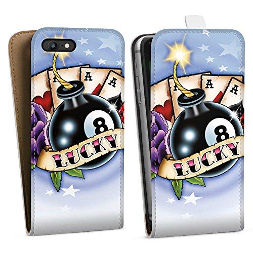 Apple iPhone X Silikon Hülle Case Schutzhülle Karten Glück Würfel Downflip Tasche weiß