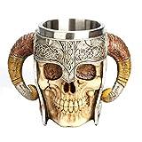 Skitior Cranio Tazza in Acciaio Inox Maniglia Corno Cranio Birra Tazza Skulls Tazza Mug 3D Doppia Tazza per caffè Bevanda Birra tè