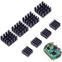LEDMOMO Kit de enfriamiento del refrigerador del disipador de calor del aluminio negro para la frambuesa Pi 3, pi 2, pi modelo B +, paquete de 8