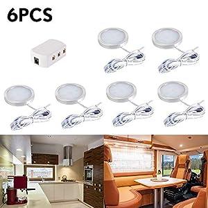 LED Einbaustrahler 6Stk Innen LED Dachflecken Lichter Deckenstrahler Einbauleuchte mit Verteiler Adapter für DC 12V RV Wohnzimmer Schlafzimmer Esszimmer Ausstellungsraum(Warmweiß)