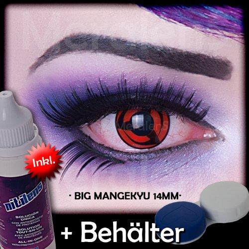 Alien Kostüm Big (Meralens Big Mangekyou 14mm Kontaktlinsen mit Pflegemittel mit Behälter ohne Stärke, 1er Pack (1 x 2)