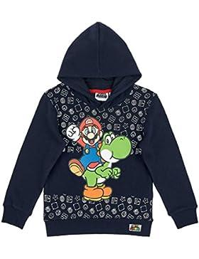 Nintendo Super Mario Bro Super Mario Bros Sudadera con Capucha, Azul Marino