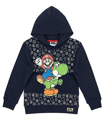Nintendo Super Mario Bro Super Mario Bros Sudadera con Capucha, Azul Marino (104/4 Años)