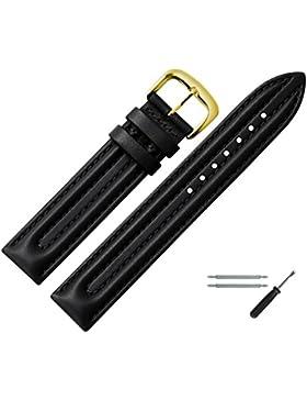 MARBURGER Uhrenarmband 18mm Leder Schwarz - Rindsleder - Inkl. Zubehör - Ersatzarmband, Schließe Gold - 2501810000220