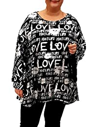 6a2a5f56c66 Wolfairy Womens Plus Size Shiny Top Tunic Lagenlook Blouse Long Bell Sleeve  Glamor Glitter Party