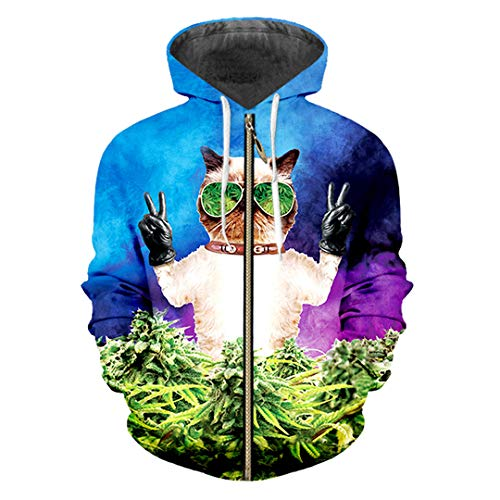 Zipper Hoodies Animal 3D Pullover Bedruckte Sonnenbrille Cat Streetwear Sweatshirts Sunglasses Cat 4XL