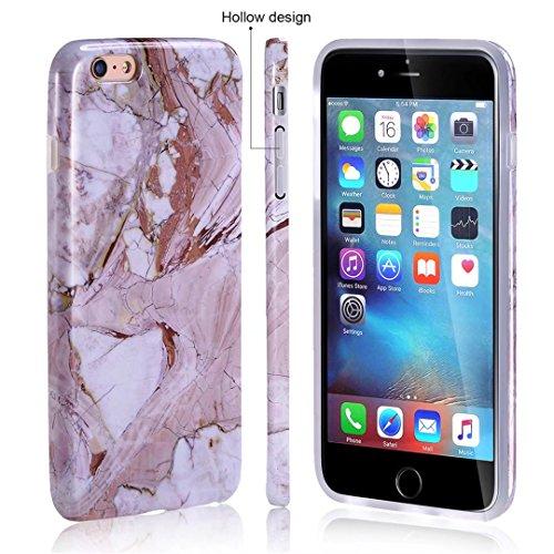 Cover iPhone 6/6S Plus marmo nero silicone Guscio morbido DECHYI TPU silicone e IMD disegno marmo Custodia serie -Nebulosa nera Rocce sedimentarie